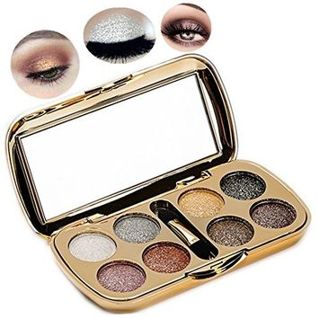 8 Colors Diamond Bright Glitter Eyeshadow Palette with Brush Mother's Day Gift Custom-Made By Pevor