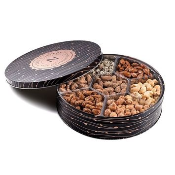 The Nuttery Metal Tin Gift Box, Mixed Nuts Gift Tray, 7 Section Nut Gift Box