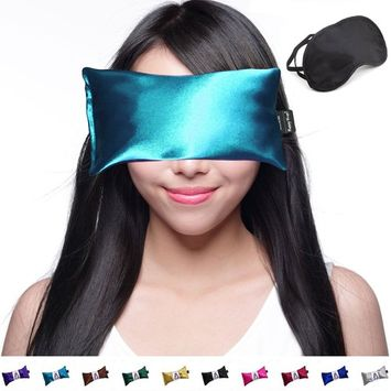 Hot Cold Lavender Eye Pillow and Eye Mask for Sleep, Yoga, Migraine Headaches, Stress Relief. By Happy Wraps - Aqua