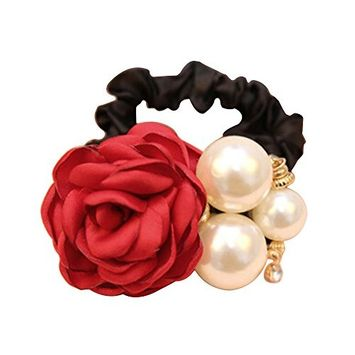 Polytree Womens Girls Satin Ribbon Rose Faux Pearls Hairband Ponytail Holder
