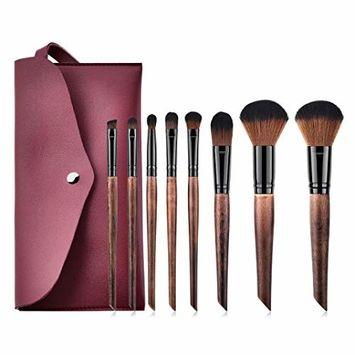 Start_wuvi Makeup Brushes 8PCS Wooden Oblique tail Makeup Brush Set 1PC Brush Bag Goat Hair Foundation Brush Blending Face Powder Blush Concealers Eye Shadows Make Up Brushes Kit (Brown)
