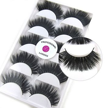 5 Pairs/Box 3D Real Mink False Eyelashes LASGOOS 100% Siberian Mink Fur Luxurious Cross Thick Very Long Wedding Party Fake Eye Lashes Y6
