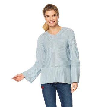 DG2 Diane Gilman V-Neck Rib Knit Bell-Slv Sweater 581-414