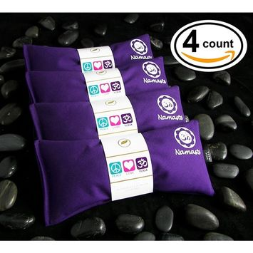 Happy Wraps Namaste Yoga Eye Pillows - Lavender Eye Pillows for Yoga - Set of 4 - Purple Cotton