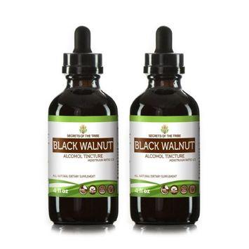 Secrets Of The Tribe Black Walnut Tincture Alcohol Extract, Organic Black Walnut (Juglans Nigra) Dried Hull 2x4 oz