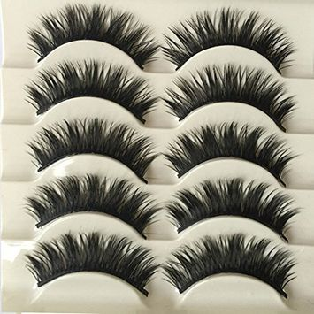 Polytree 5 Pairs 3D Cross Thick Long False Eyelashes Dance Cocktail Party Makeup Tool