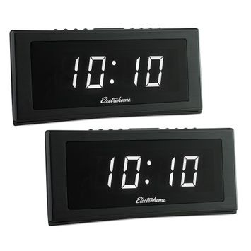 Electrohome 1.8 Jumbo LED Alarm Clock Radio with Battery Backup & Auto Time Set - 2 PACK