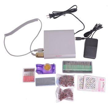 HOUSWEETY 20,000 RPM Professional Manicure Pedicure Set Electric Nail Art File Drill Bits Kits