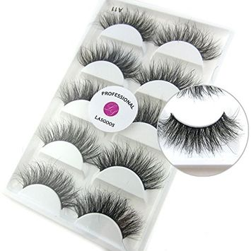 Luxurious 100% Siberian Mink Fur 3D False Eyelash LASGOOS Degisn Natural Messy Volume Fluffy Long Hot Fake Eyelashes 5 Pairs/Box