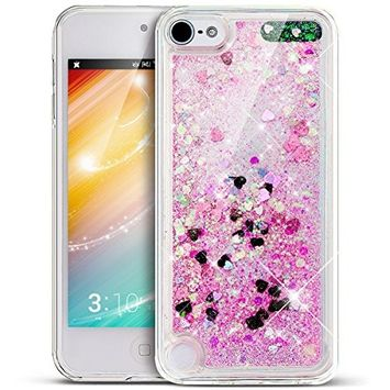 UCLL Iphone 7 Case, Solf Liquid Bling Glitter Case for 4.7 inch Iphone 7 with a free Screen Protector Ultra Slim Floating Luxury Gold rose Case