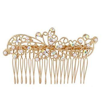 Lux Accessories Gold Tone AB Crystal Rhinestone Faux Pearl Flower Leaf Hair Comb