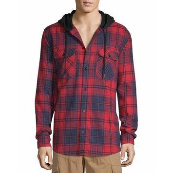 No Boundaries Men's Hooded Long Sleeve Flannel [name: actual_color value: actual_color-brilliantred]
