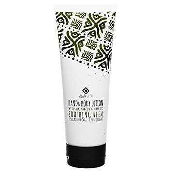 Alaffia - Neem Turmeric Hand and Body Lotion, Soothing Support for Soft, Supple Skin Protected from Weather with Shea Butter, Yarrow, and Moringa, Fair Trade, Soothing Neem, 8 Ounces
