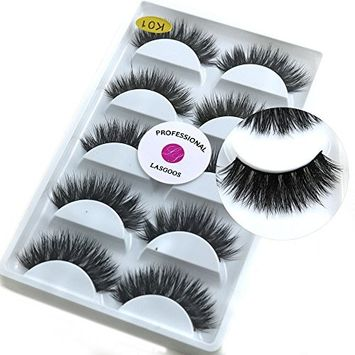 5 Pairs/Box 3D Real Mink False Eyelashes LASGOOS 100% Siberian Mink Fur Luxurious Wispy Natural Cross Thick Long Fake Eye Lashes K01