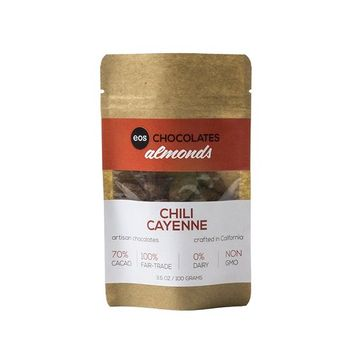 Premium Dark Chocolate Covered Almonds from California - Swiss Made, Gluten and Dairy Free, Vegan, Fair Trade, Single Origin Columbian 70% Cacao from Eos Chocolates (Chili and Cayenne, 1 Pack)