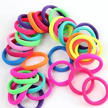 Polytree 50pcs Girl Kids Elastic Hair Ties Ropes Band Ponytail Holders Hairbands