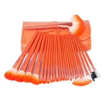 MSQ Professional Cosmetic 24-piece Makeup Brushes Set with Pouch, Two Color Available (Orange)