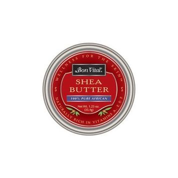 Bon Vital' 100% Pure African Shea Butter, Repair Dry & Damaged Skin, Moisturizer to Reduce Appearance of Stretch Marks, Add Essential Oils for a Custom Skin Repair Cream, 1.25 Ounce Tin