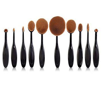 YOY Fashion Makeup Brush Set - Professional Kabuki Brushes Kit Foundation Blending Blush Contour Concealer Eyeliner Face Powder Cosmetics Beauty Tools,10 Pcs Black