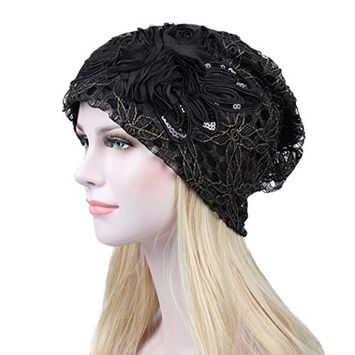 Lace Hat, ღ Ninasill ღ Exclusive Flower Slouchy Baggy Head Cap Chemo Beanie Cancer Hat Turban