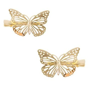StylesILove Womens Girls Gold Tone Butterfly Hair Clips Wedding Bride Hair Accessories - Set of 2