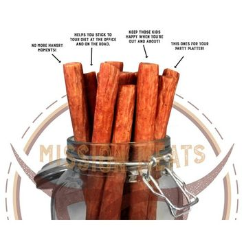 Mission Meats Hardwood Smoked Bacon Pork Sticks Antibiotic Free Gluten Free MSG Free Nitrate Nitrite Free All Natural Premium Pork Sticks [Hardwood Smoked Bacon Pork]