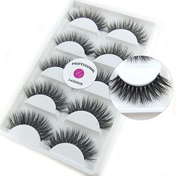 Luxurious 100% Siberian Mink Fur 3D False Eyelash LASGOOS Degisn Natural Messy Thick Long Volume Fake Eyelashes Makeup 5 Pairs/Box