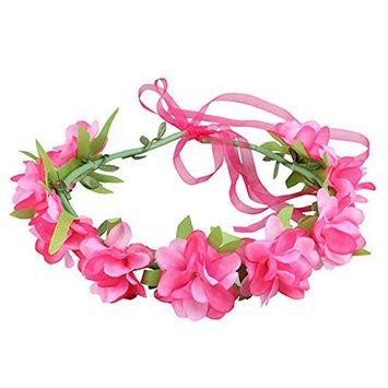 SUKRAGRAHA Flower Crown Girls Floral Headpiece Festival HeadBand Red