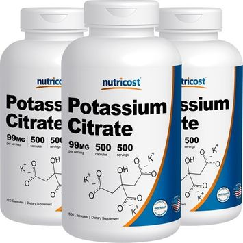 Nutricost Potassium Citrate 99mg, 500 Capsules (3 Bottles)