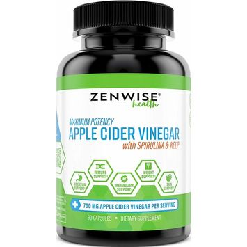 Apple Cider Vinegar Capsules - with Spirulina & Kelp + Vitamin B6-700 MG Natural ACV Powder Supplement for Digestion & Weight Loss + Skin & Immune System Support - 90 Count