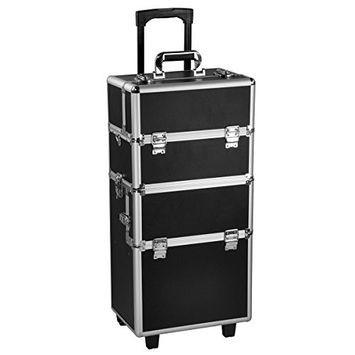 Yaheetech Aluminum Beauty Train Cosmetic Makeup Case Lockable on Wheels Makeup Organizer Black