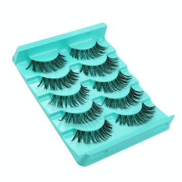 Voberry 5 Pair/Lot Crisscross False Eyelashes Lashes Voluminous Hot Eye Lashes