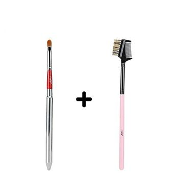 MSQ Eyebrow Brush and Lip Brush Synthetic Hair Lash & Brow Brush Wooden Handle Make Up Brush Set Cosmetics Tools (2PCS)