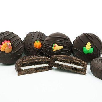 Philadelphia Candies Dark Chocolate Covered OREO Cookies, Thanksgiving Assortment (Corn, Cornucopia, Pumpkin, Turkey) 8 Ounce