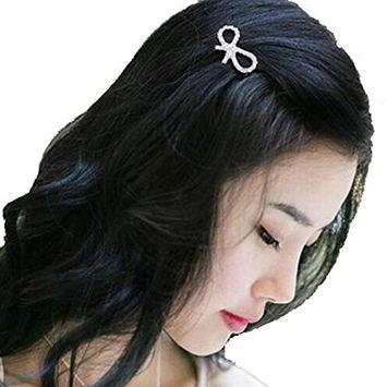 Polytree 5Pcs Women Girls Crystal Rhinestone Bow-knot Barrette Mini Hair Clips