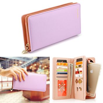Fashion Women Faux Leather Wallet Clutch Card Holder Zip Purse Lady Long Handbag