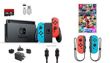 Ushopmall & Switch Nintendo Switch Bundle (7 items): 32GB Console Neon Red Blue Joy-con, Game Disc Mario Kart 8 Deluxe, Extra Pair of Joy-con Red and Blue,128GB Micro SD Card, Type C Cable, HDMI Wall Charger