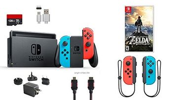 Ushopmall & Switch Nintendo Switch Bundle (7 items): 32GB Console Neon Red Blue Joy-con, Game The Legend of Zelda, Extra Pair of Joy-con Red and Blue,128GB Micro SD Card, Type C Cable, HDMI Wall Charger