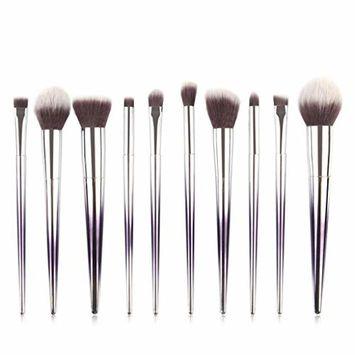 Start_wuvi Makeup Brushes 10PCS Make up Brush Set Premium Synthetic Blending Eyeshadow Brush Face Powder Blush Concealers Foundation Cosmetic Brushes Kit(Silver)