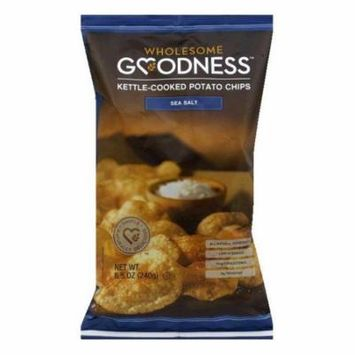 Wholesome Goodness Sea Salt Kettle-Cooked Potato Chips, 8.5 Oz (Pack of 8)