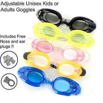 Magg Anti Fog UV Adjustable Comfortable Swimming Goggles With Waterproof Nose + Ear Plug For Adults or kids- Multiple colors and Packs (Assorted, 3-pack)