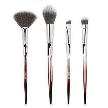 Start_wuvi Makeup Brushes 4PCS Makeup Brush Set Premium Synthetic Foundation Fan Brush Blending Face Powder Blush Concealers Eye Shadows Make Up Brushes Kit