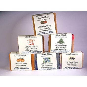 Jonathan Kent Goats Milk Soap Bars – GRANDMA'S KITCHEN 6 Pack Sampler - Saturated with Farm Fresh 100% Creamy Goats Milk, NO WATER, Wild Black Raspberry Vanilla, Peppermint Vanilla, Fig/Pomegranate with Brown Sugar, Wild Blueberry, Pumpkin Pie, and Northern Spruce. Luxurious, Lingering, Invigorating Fragrance
