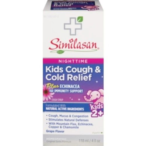 Similasan Kids Nighttime Cold and Cough Relief Immune Syrup Grape, 4 OZ