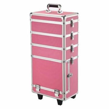 Yaheetech Professional Rolling Cosmetic Case Beauty Case Trolley Brand New Pink
