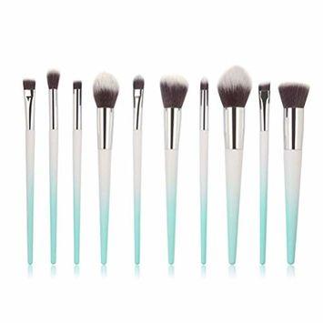 Start_wuvi Makeup Brushes 10PCS Make up Brush Set Premium Synthetic Blending Eyeshadow Brush Face Powder Blush Concealers Foundation Cosmetic Brushes Kit(Sky Blue)