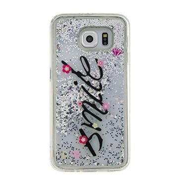 UCLL Samsung Galaxy S6 Case ,Smile Print Galaxy S6 Solf Liquid Bling Glitter Case, Galaxy S6 Ultra Slim Luxury Case with a free Screen Protector