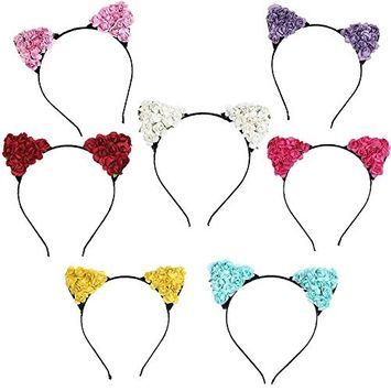 Mydio 7 Pack Women Girls Kids Cosplay Cat Ears Hairband Headband,Cat Ears Headband Hair Hoop,7 Color