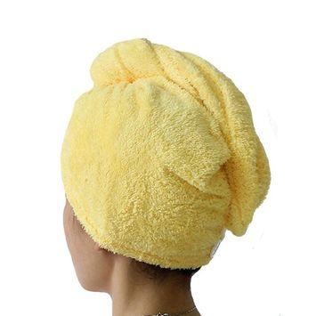 Mily Microfiber Hair Turban,Hair Towel Wrap Turban- Super Absorbent,Unique Design - Perfect for College Dorm, Pools, Gyms, Beaches, Locker Rooms Bathroom (Yellow)