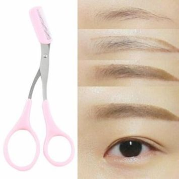 2017 New Women Ladies Pink Eyebrow Trimmer Comb Eyelash Hair Scissors Cutter Remover Tool Cosmetic Tool Clip Eyelash Hair Scissors